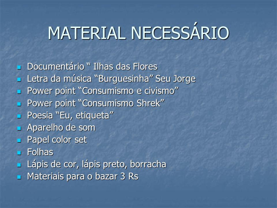 MATERIAL NECESSÁRIO Documentário Ilhas das Flores