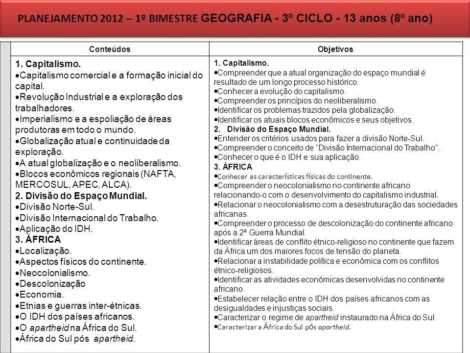 PLANEJAMENTO 2012 – 1º BIMESTRE GEOGRAFIA - 3º CICLO - 13 anos (8º ano)