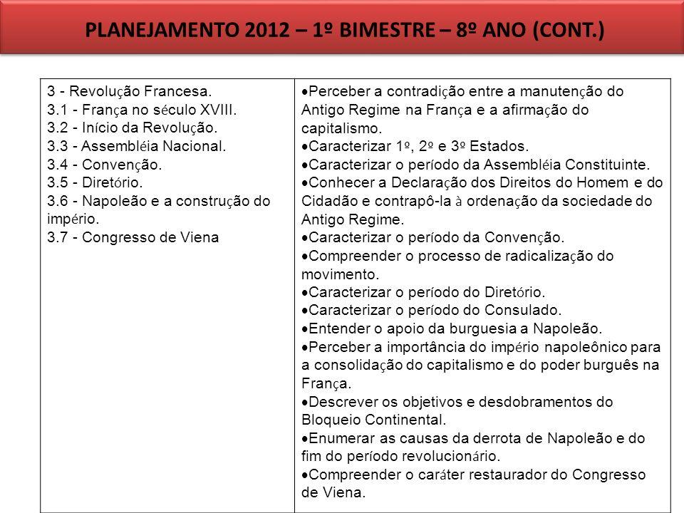 PLANEJAMENTO 2012 – 1º BIMESTRE – 8º ANO (CONT.)