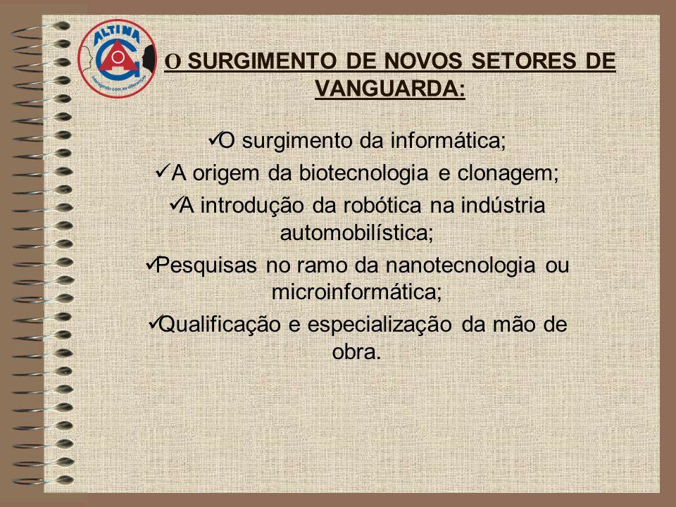 O SURGIMENTO DE NOVOS SETORES DE VANGUARDA: