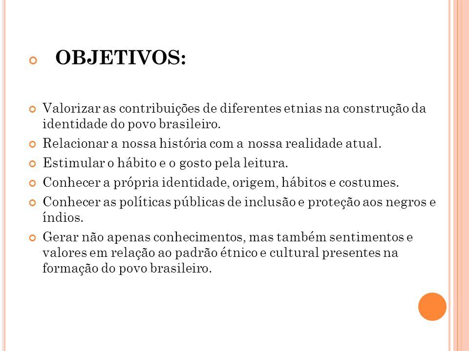 OBJETIVOS: Valorizar as contribuições de diferentes etnias na construção da identidade do povo brasileiro.
