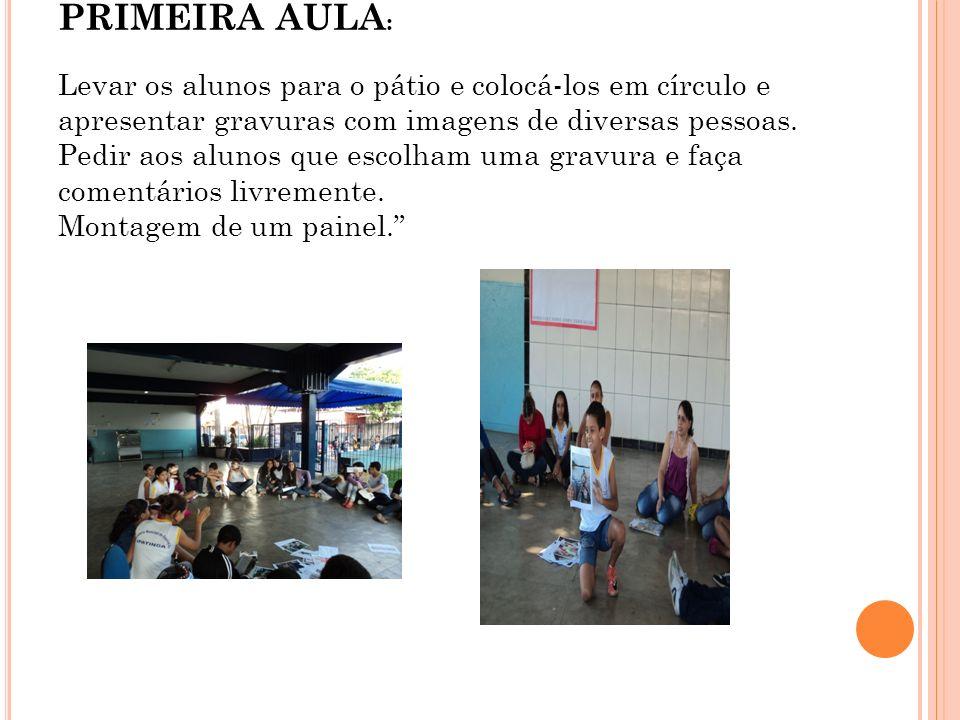 PRIMEIRA AULA: Levar os alunos para o pátio e colocá-los em círculo e apresentar gravuras com imagens de diversas pessoas.