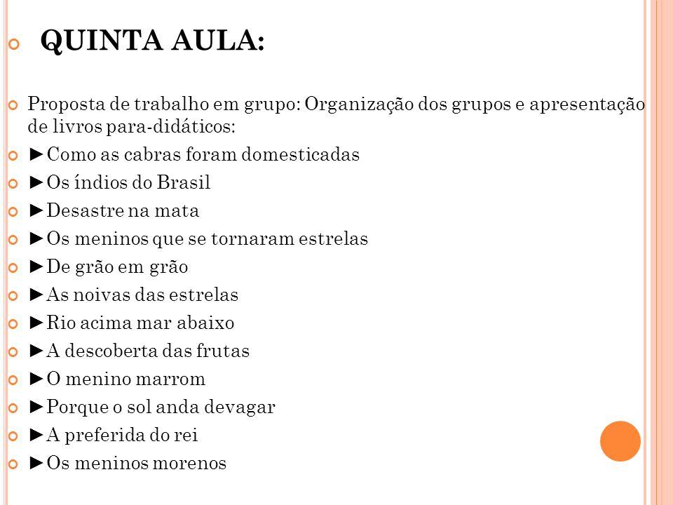 QUINTA AULA: Proposta de trabalho em grupo: Organização dos grupos e apresentação de livros para-didáticos:
