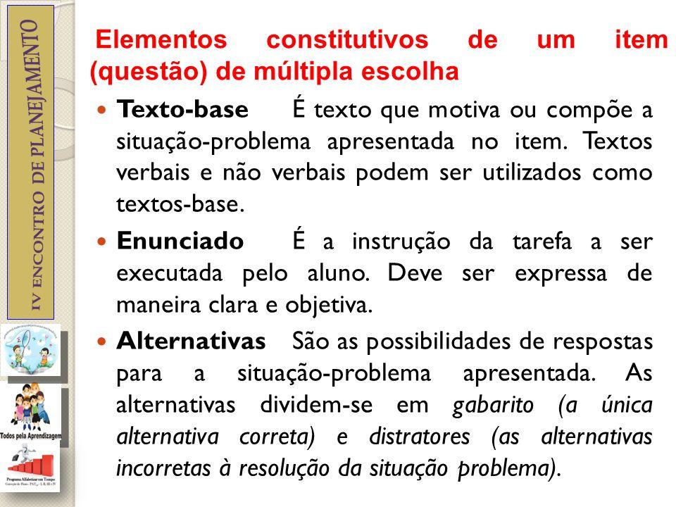 Elementos constitutivos de um item (questão) de múltipla escolha