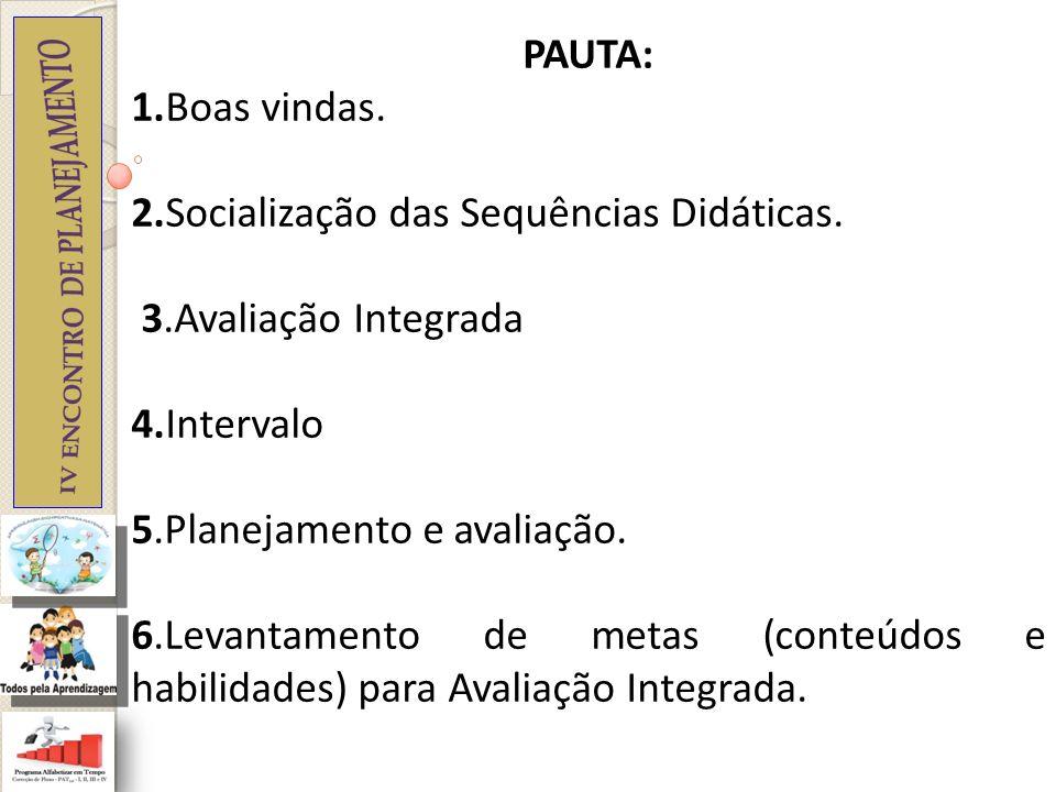 PAUTA: 1.Boas vindas. 2.Socialização das Sequências Didáticas. 3.Avaliação Integrada. 4.Intervalo.