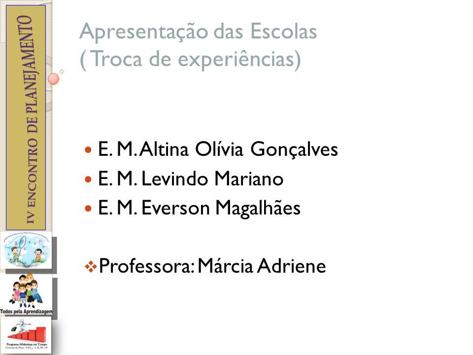 Apresentação das Escolas ( Troca de experiências)