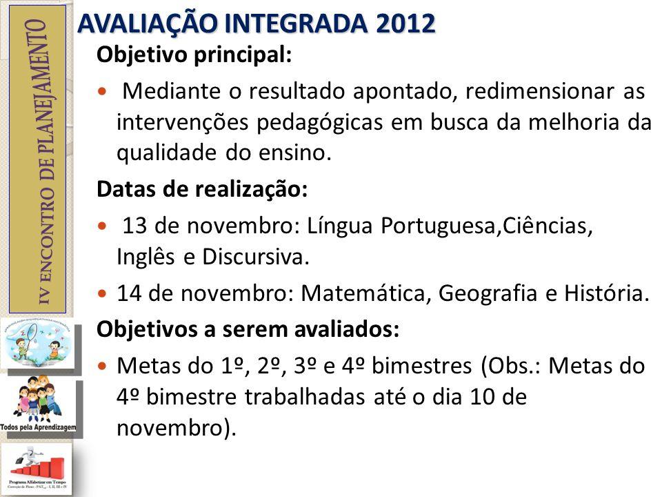 AVALIAÇÃO INTEGRADA 2012 Objetivo principal: