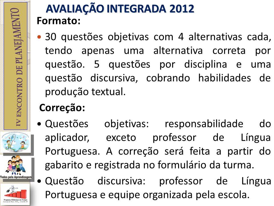 AVALIAÇÃO INTEGRADA 2012 Formato: