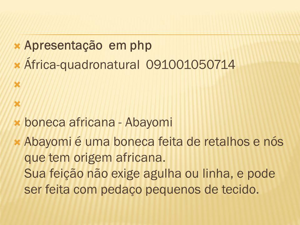 Apresentação em php África-quadronatural 091001050714. boneca africana - Abayomi.