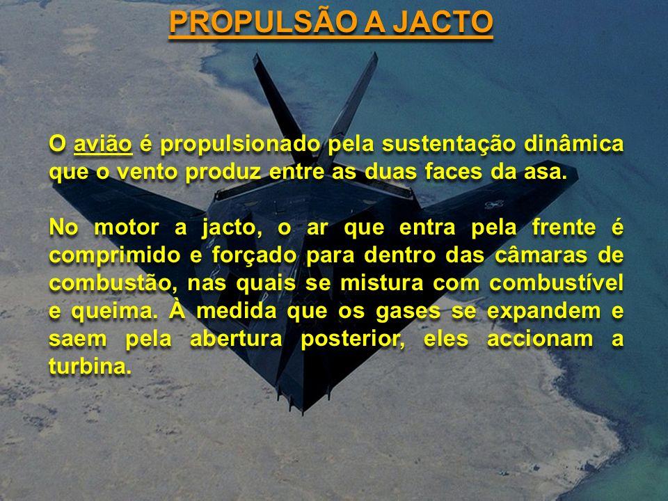 PROPULSÃO A JACTO O avião é propulsionado pela sustentação dinâmica que o vento produz entre as duas faces da asa.