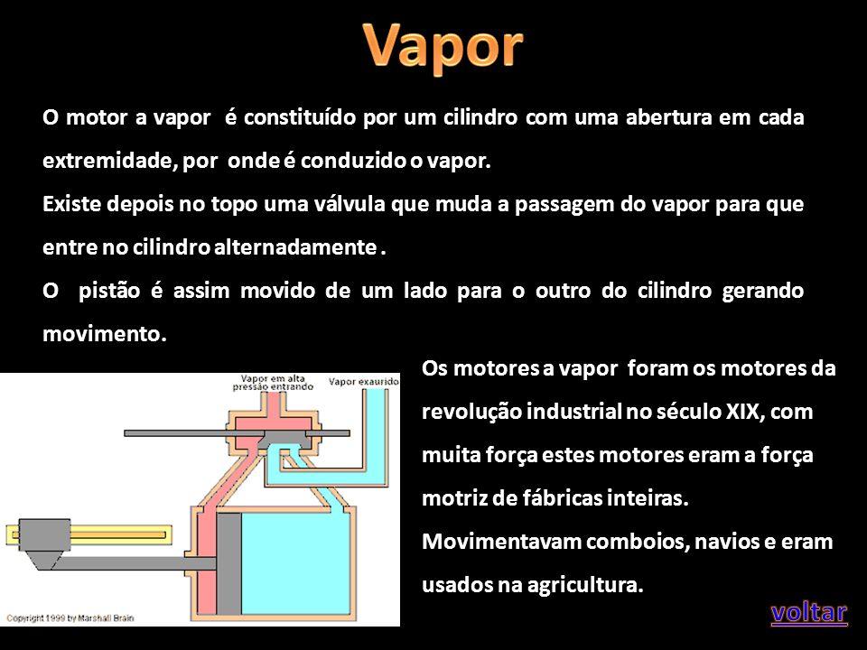 Vapor O motor a vapor é constituído por um cilindro com uma abertura em cada extremidade, por onde é conduzido o vapor.