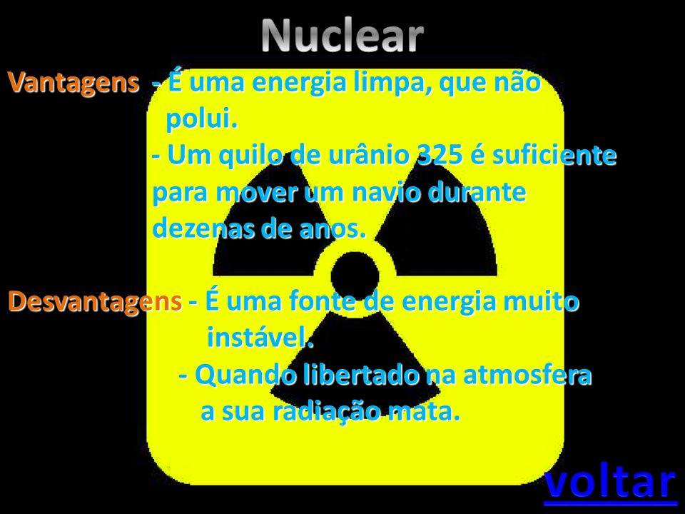 Nuclear voltar Vantagens - É uma energia limpa, que não polui.