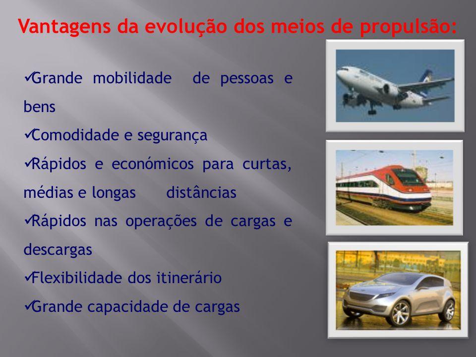 Vantagens da evolução dos meios de propulsão: