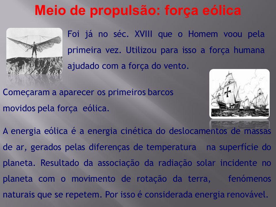 Meio de propulsão: força eólica