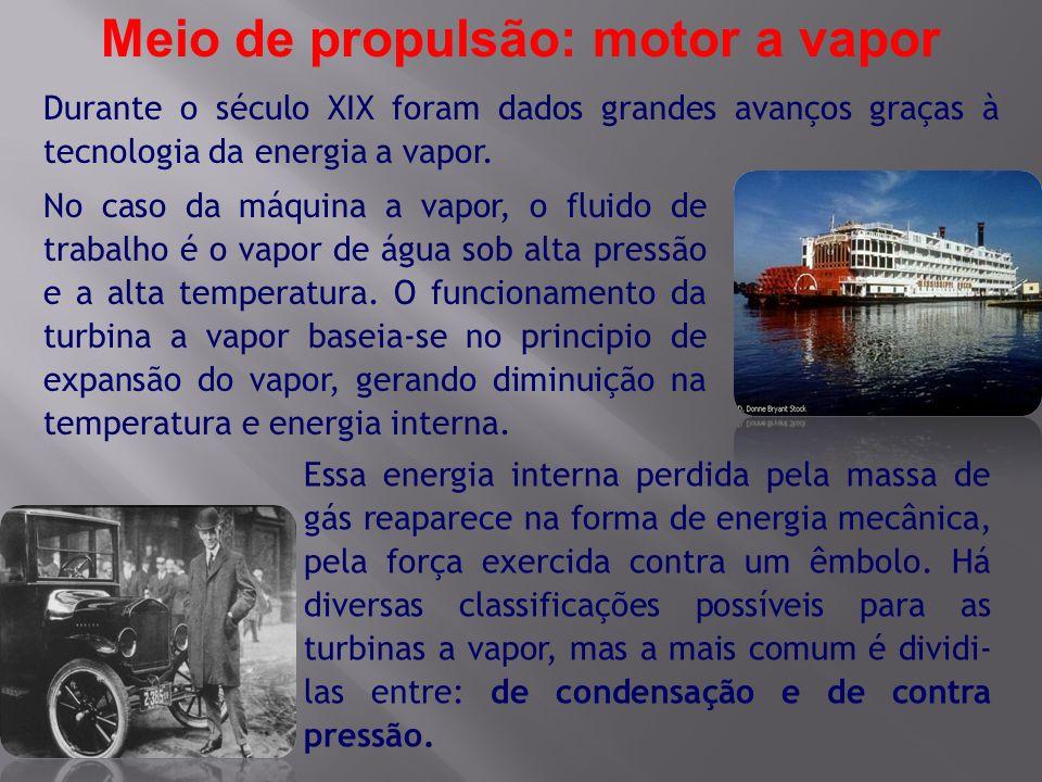 Meio de propulsão: motor a vapor