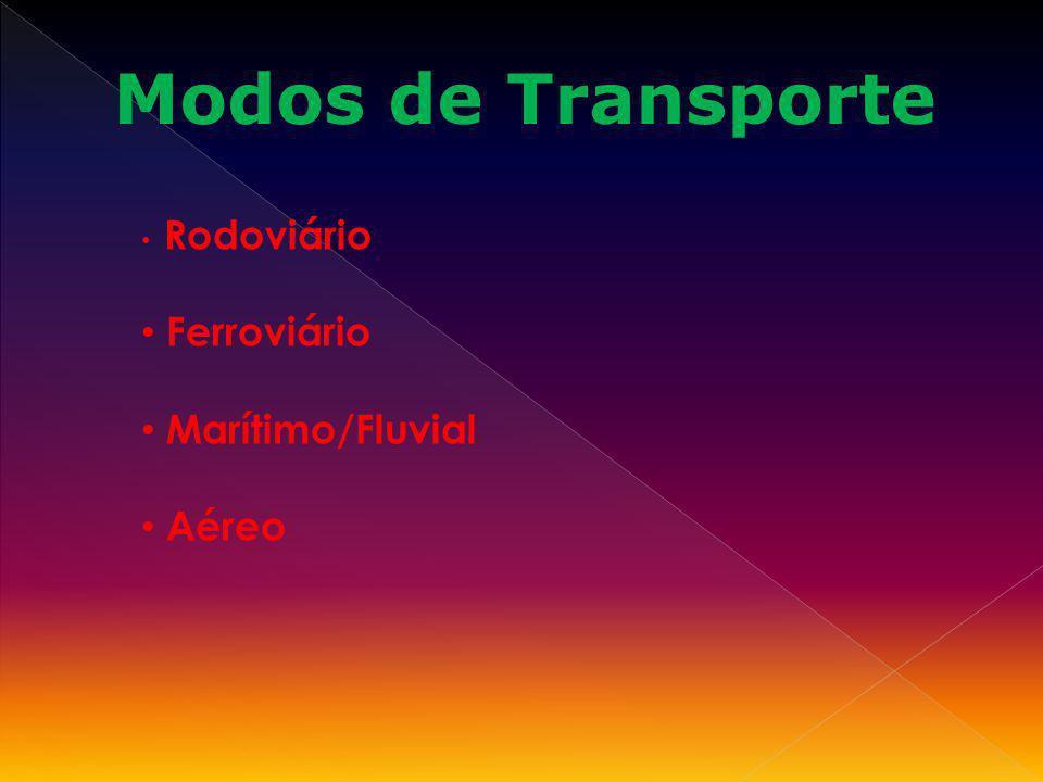 Modos de Transporte Rodoviário Ferroviário Marítimo/Fluvial Aéreo