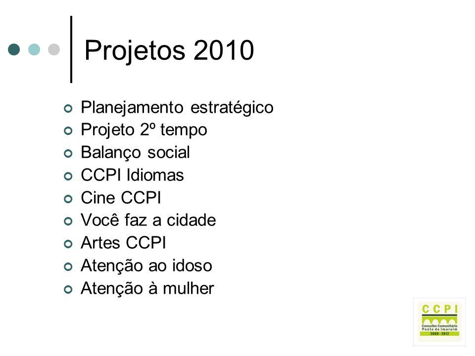 Projetos 2010 Planejamento estratégico Projeto 2º tempo Balanço social