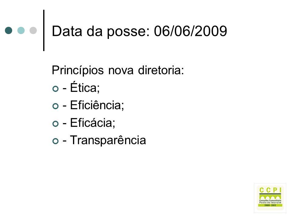 Data da posse: 06/06/2009 Princípios nova diretoria: - Ética;
