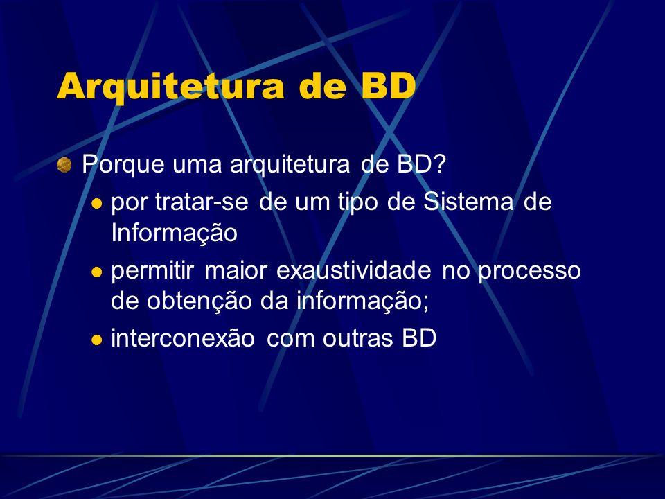 Arquitetura de BD Porque uma arquitetura de BD