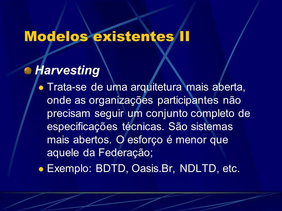 Modelos existentes II Harvesting