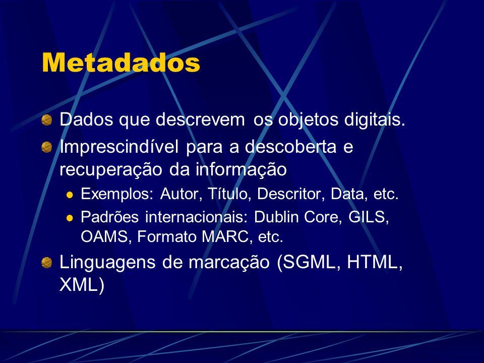 Metadados Dados que descrevem os objetos digitais.