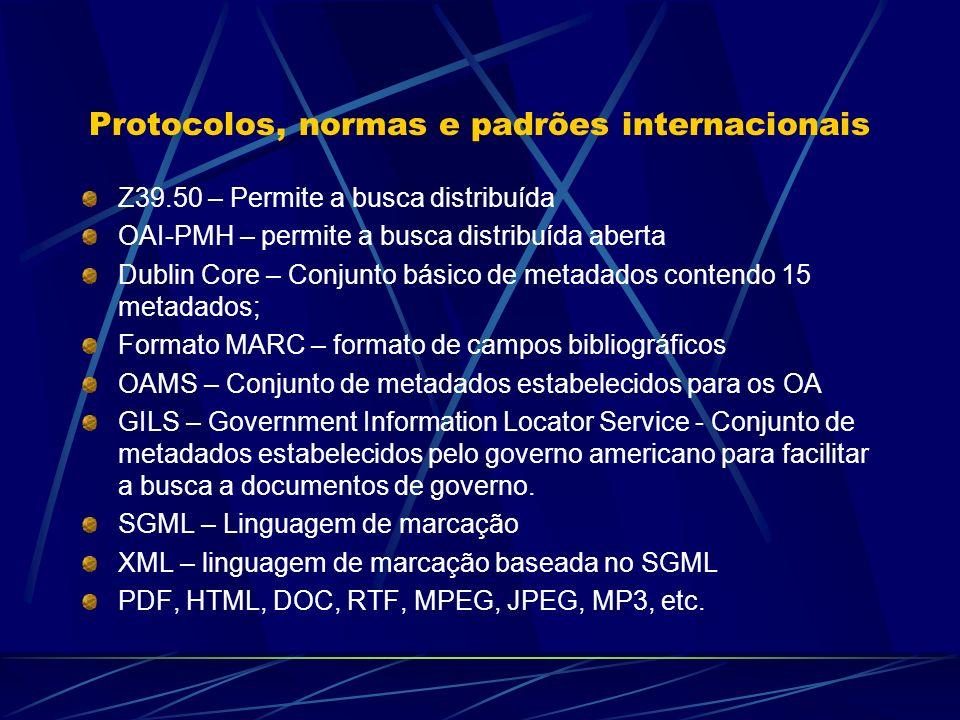 Protocolos, normas e padrões internacionais