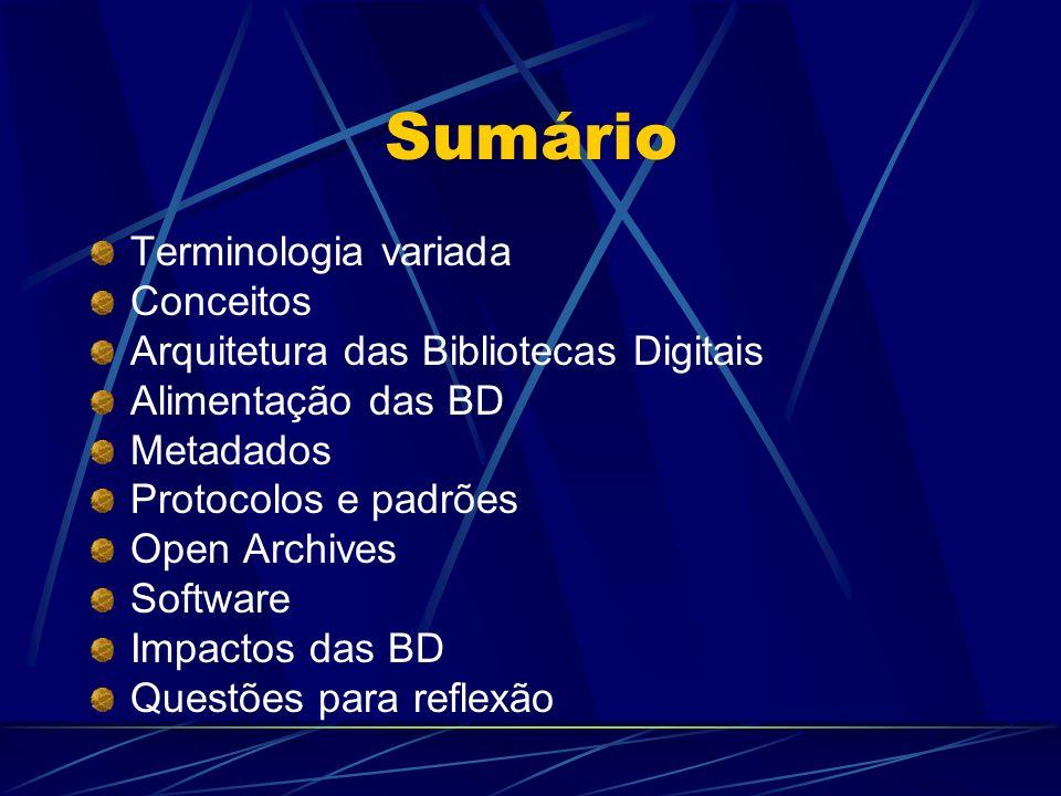 Sumário Terminologia variada Conceitos