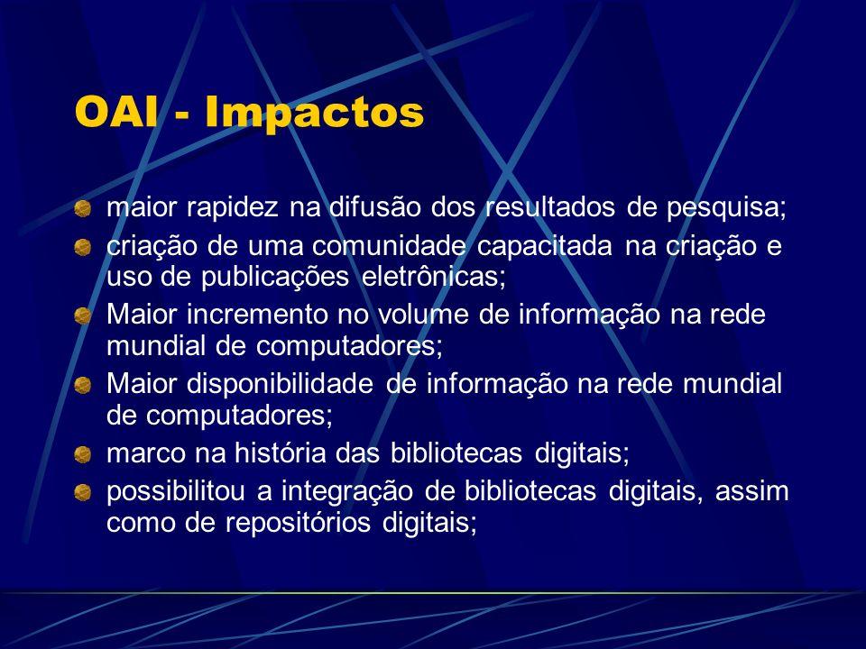 OAI - Impactos maior rapidez na difusão dos resultados de pesquisa;