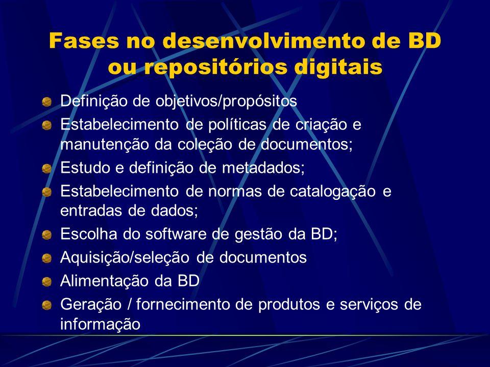 Fases no desenvolvimento de BD ou repositórios digitais