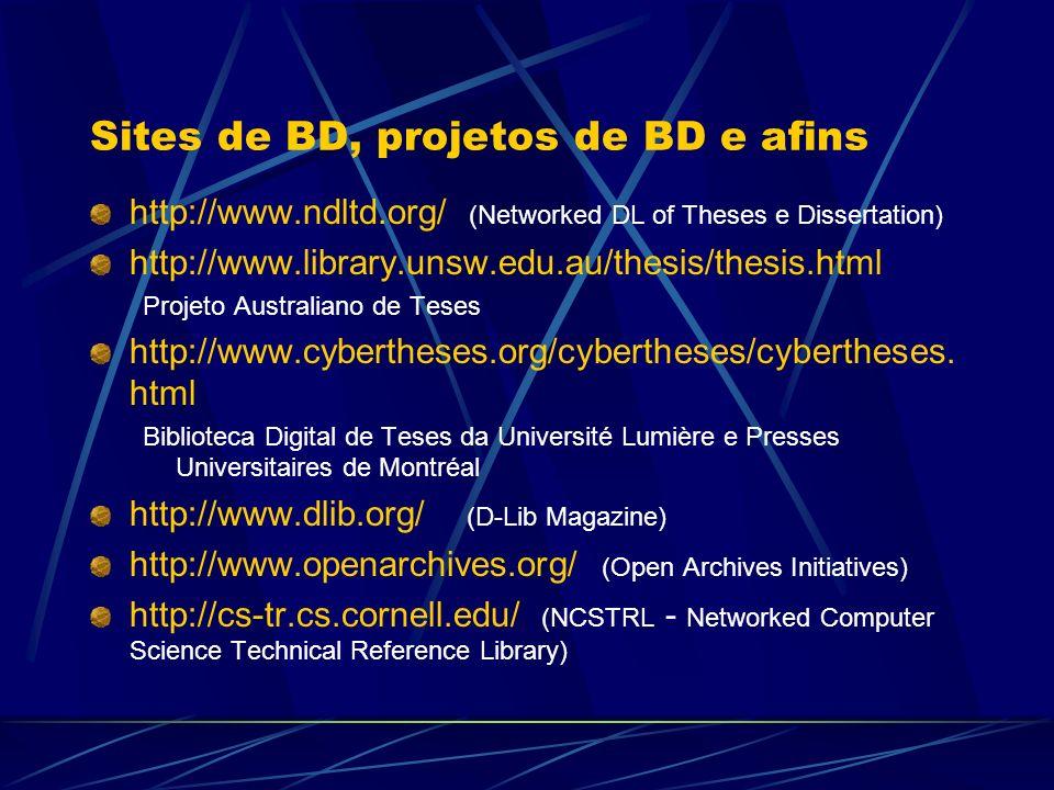 Sites de BD, projetos de BD e afins