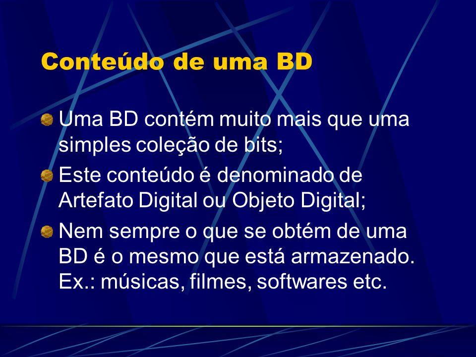 Conteúdo de uma BD Uma BD contém muito mais que uma simples coleção de bits; Este conteúdo é denominado de Artefato Digital ou Objeto Digital;