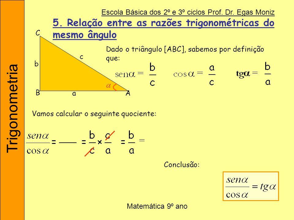5. Relação entre as razões trigonométricas do mesmo ângulo