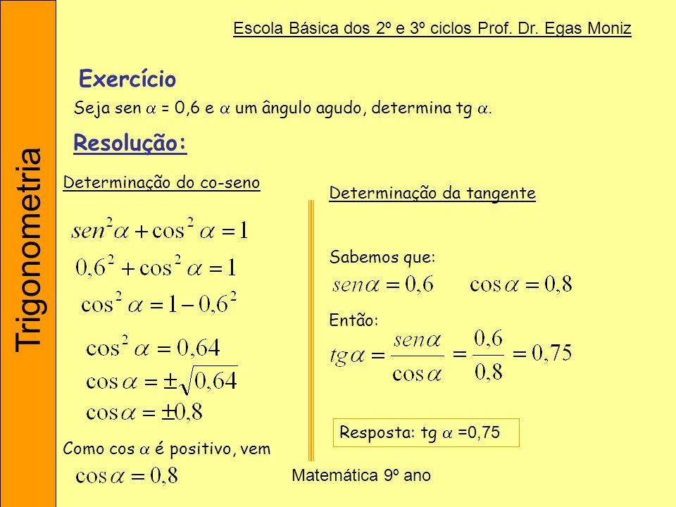 ExercícioSeja sen  = 0,6 e  um ângulo agudo, determina tg . Resolução: Determinação do co-seno. Determinação da tangente.