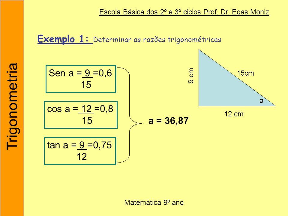 Exemplo 1: Determinar as razões trigonométricas