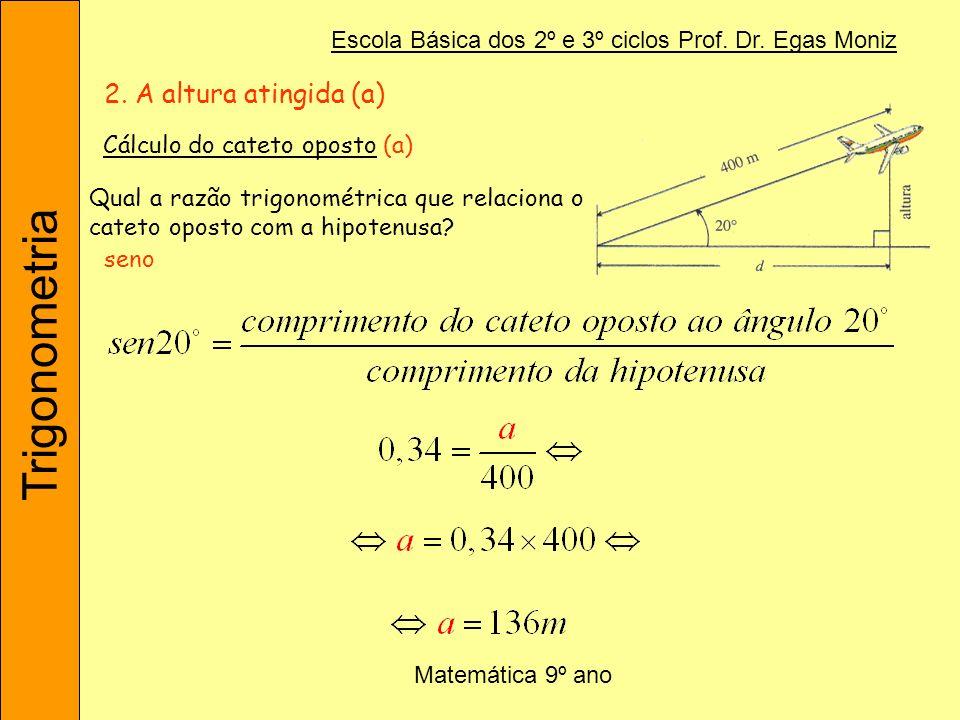 2. A altura atingida (a) Cálculo do cateto oposto (a)