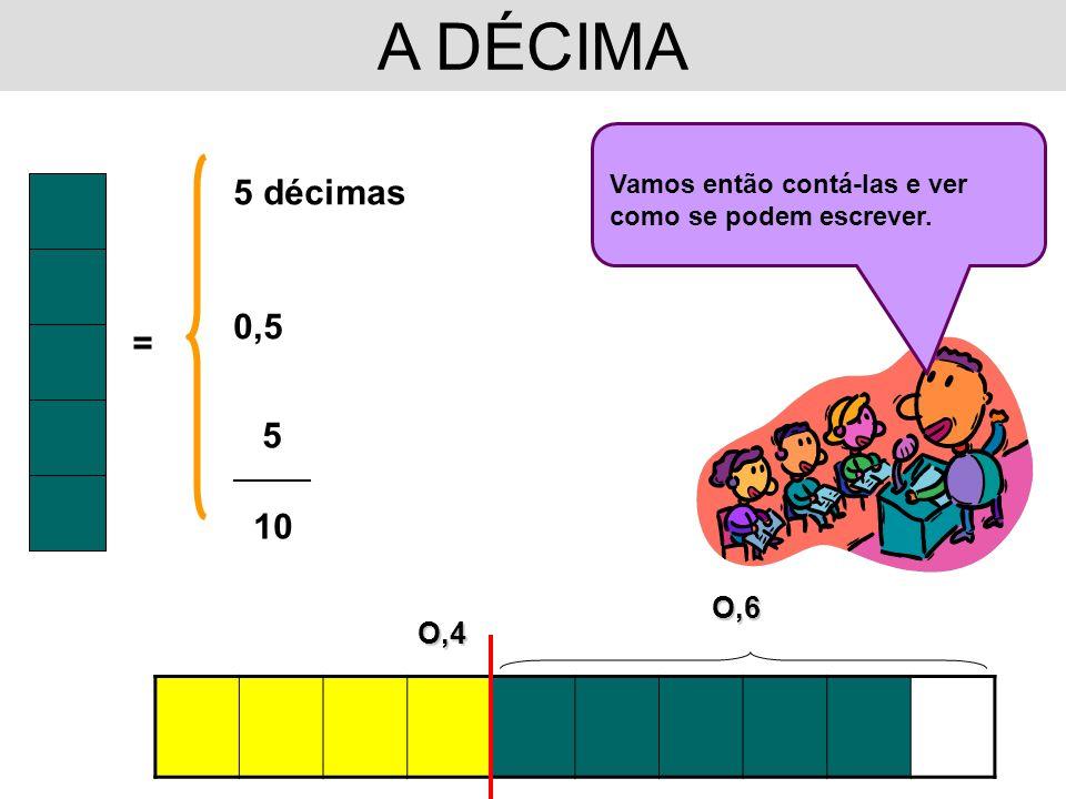 A DÉCIMA Vamos então contá-las e ver como se podem escrever. 5 décimas. 0,5. = 5. __________. 10.
