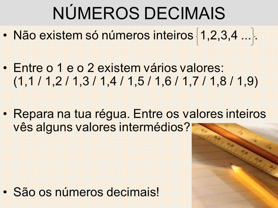 NÚMEROS DECIMAIS Não existem só números inteiros 1,2,3,4 ... .
