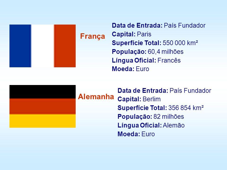 Data de Entrada: País Fundador Capital: Paris Superfície Total: 550 000 km² População: 60,4 milhões Língua Oficial: Francês Moeda: Euro