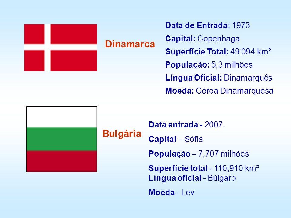 Data de Entrada: 1973 Capital: Copenhaga Superfície Total: 49 094 km² População: 5,3 milhões Língua Oficial: Dinamarquês Moeda: Coroa Dinamarquesa