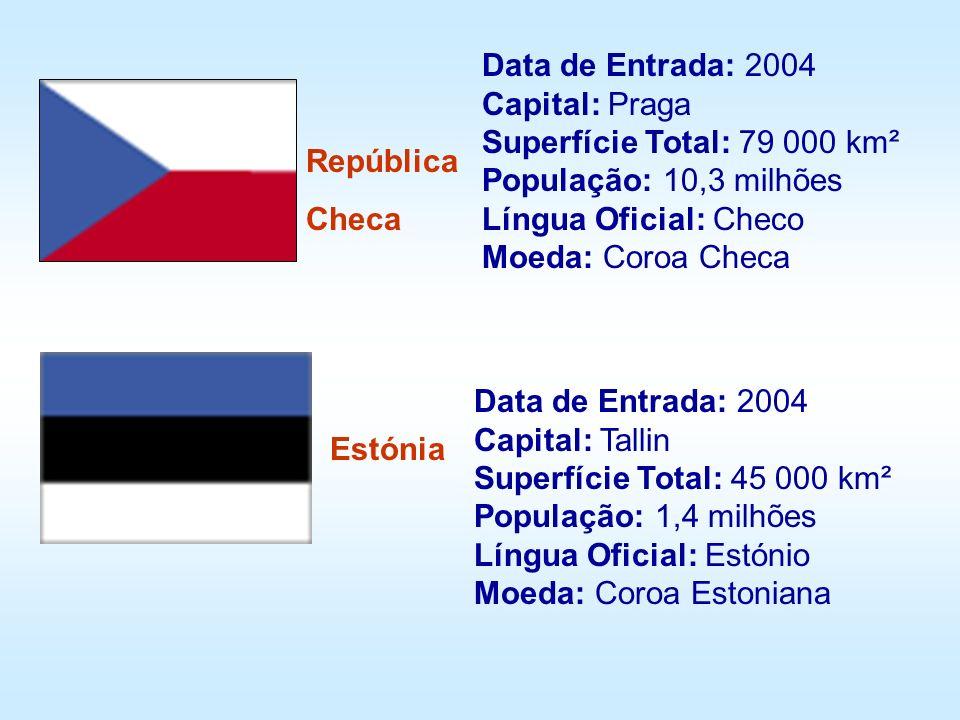 Data de Entrada: 2004 Capital: Praga Superfície Total: 79 000 km² População: 10,3 milhões Língua Oficial: Checo Moeda: Coroa Checa