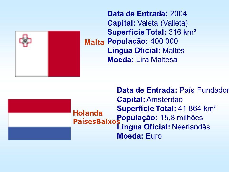 Data de Entrada: 2004 Capital: Valeta (Valleta) Superfície Total: 316 km² População: 400 000 Língua Oficial: Maltês Moeda: Lira Maltesa