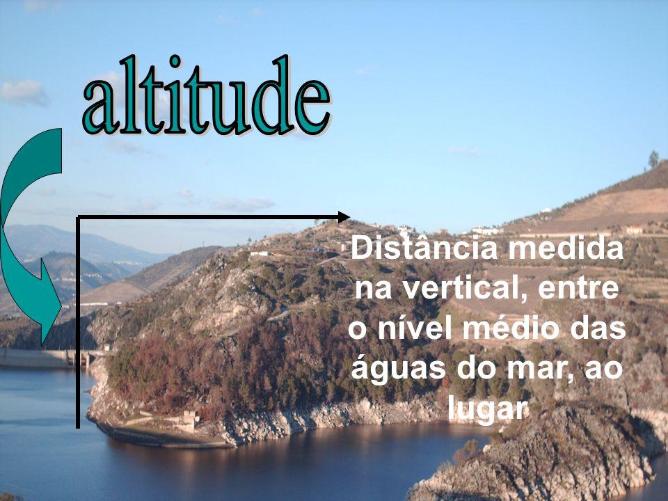 altitude Distância medida na vertical, entre o nível médio das águas do mar, ao lugar