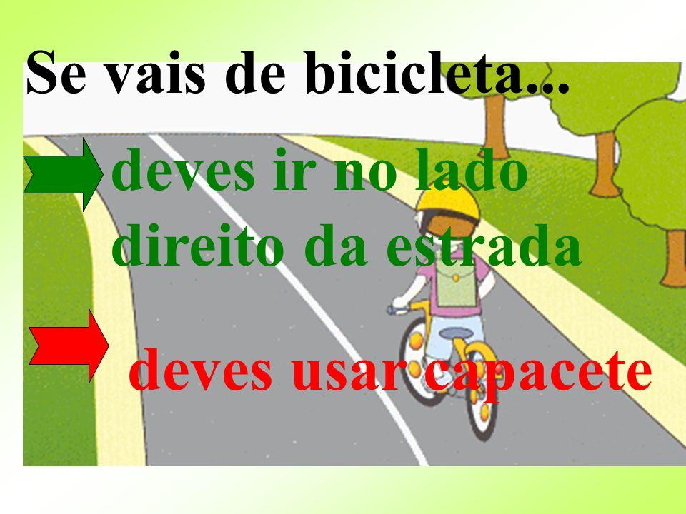 Se vais de bicicleta... deves ir no lado direito da estrada deves usar capacete