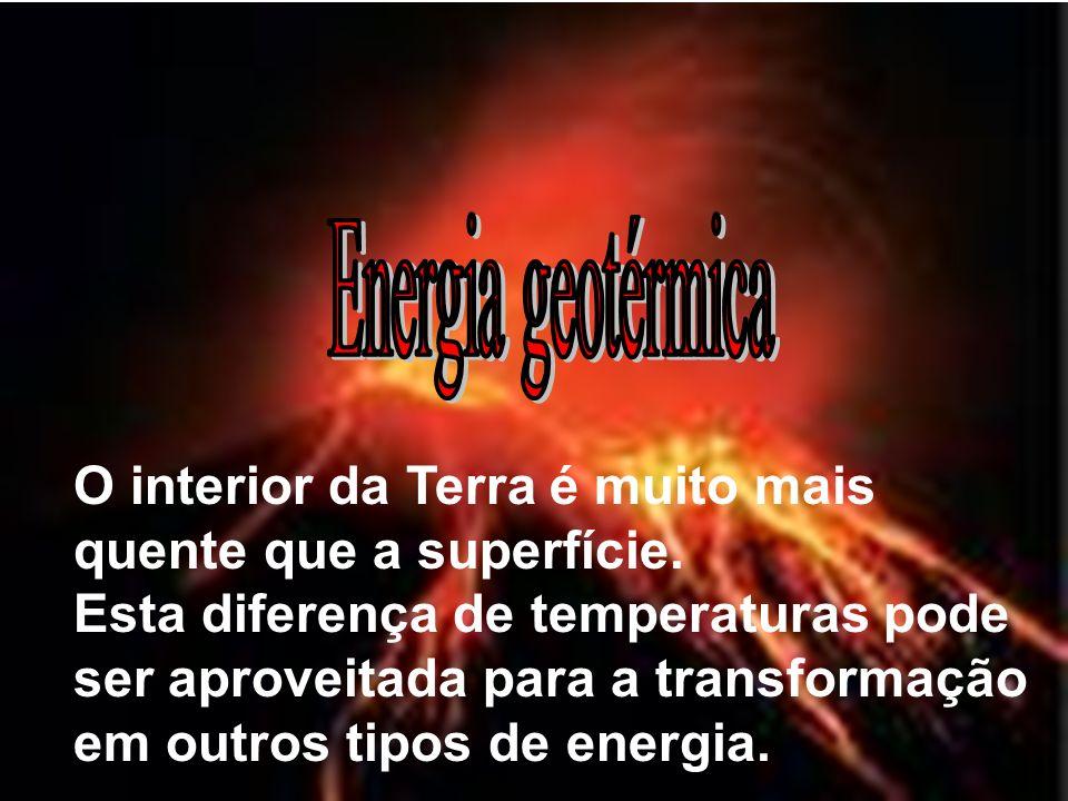 Energia geotérmicaO interior da Terra é muito mais quente que a superfície.