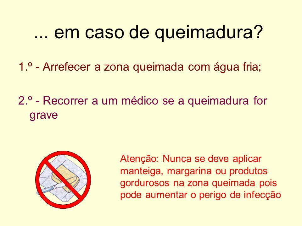 ... em caso de queimadura 1.º - Arrefecer a zona queimada com água fria; 2.º - Recorrer a um médico se a queimadura for grave.