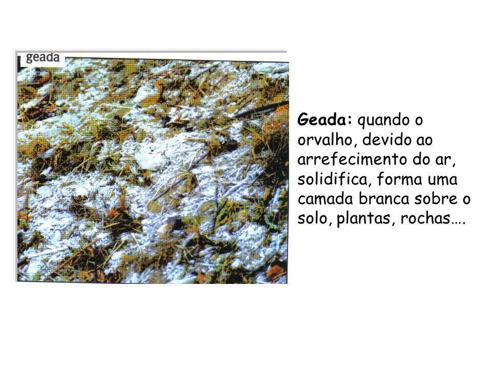 Geada: quando o orvalho, devido ao arrefecimento do ar, solidifica, forma uma camada branca sobre o solo, plantas, rochas….
