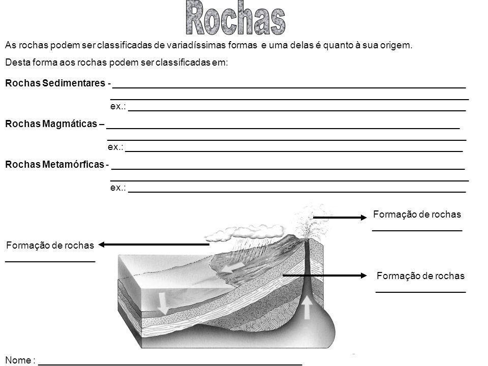 Rochas As rochas podem ser classificadas de variadíssimas formas e uma delas é quanto à sua origem.