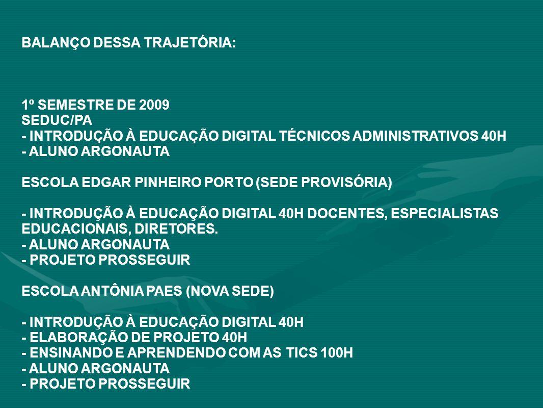 BALANÇO DESSA TRAJETÓRIA: