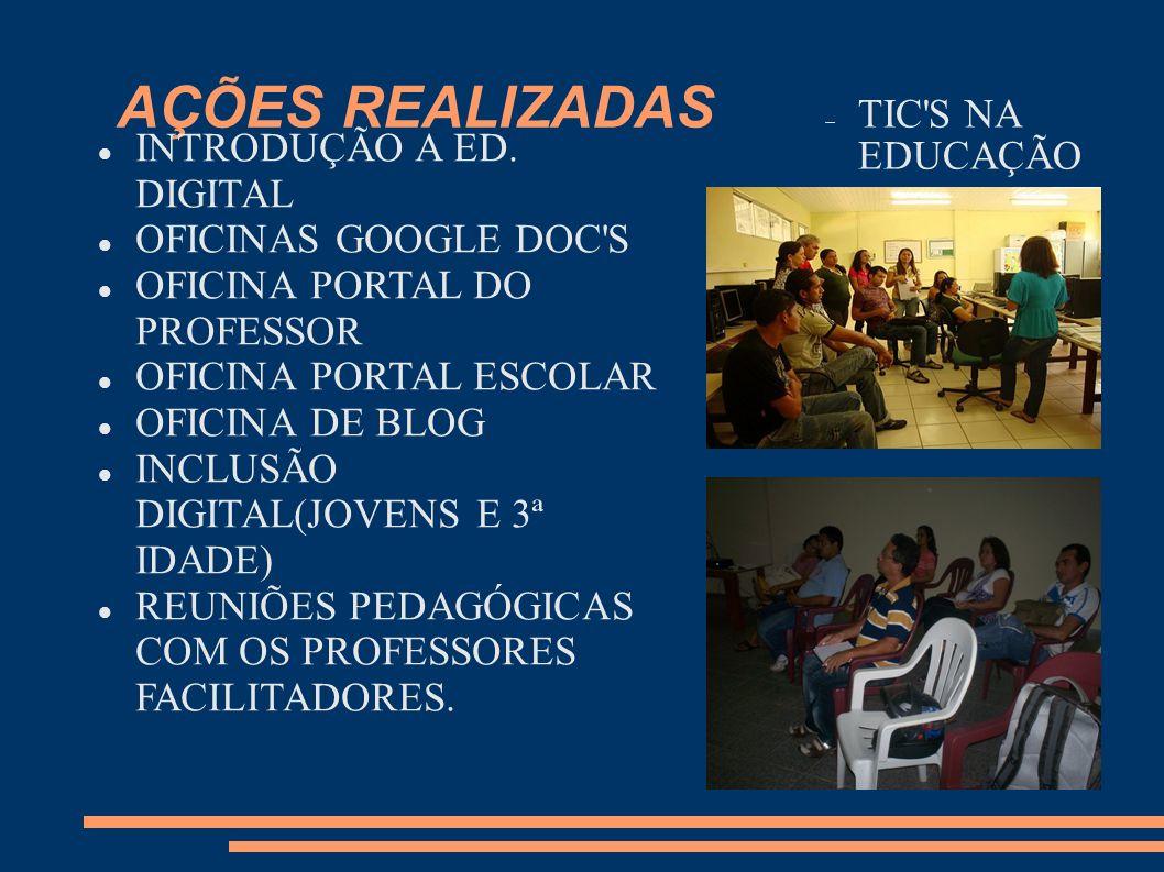AÇÕES REALIZADAS TIC S NA EDUCAÇÃO INTRODUÇÃO A ED. DIGITAL
