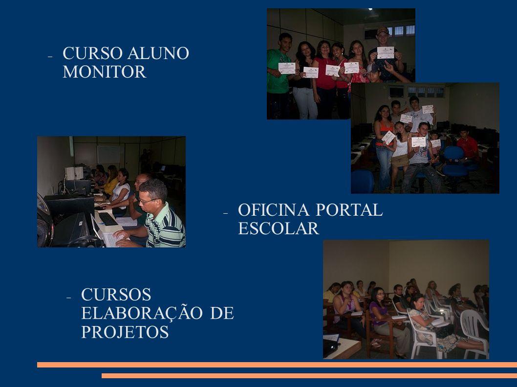 CURSO ALUNO MONITOR OFICINA PORTAL ESCOLAR CURSOS ELABORAÇÃO DE PROJETOS